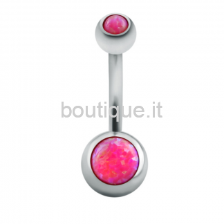Piercing Ombelico Opale Fucsia